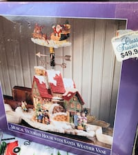 Musical Victorian House with Santa weather vane