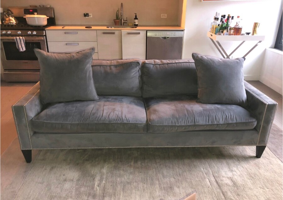 Grey Ultra Suede Couch W Chrome Studs
