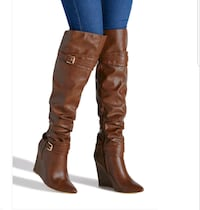 pair of brown leather knee-high boots Bristow, 20136