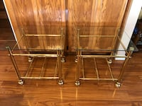"Brass Glass Top End Table Set 23"" x 24"" x 20"" Turlock, 95380"