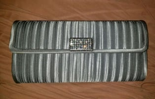 Evening Prom Clutch Grey Chain Purse Bag