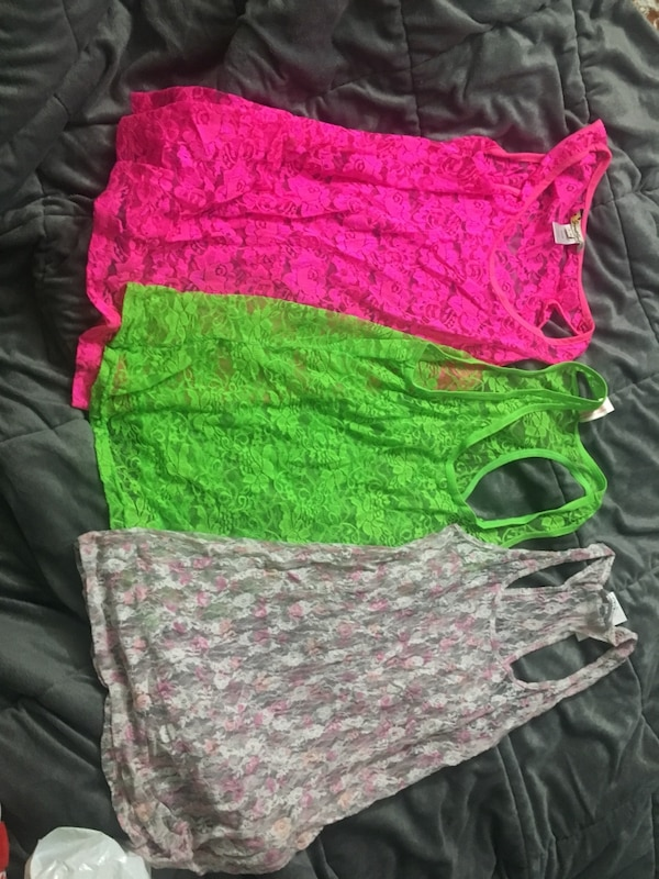 Women's pink and green floral shorts