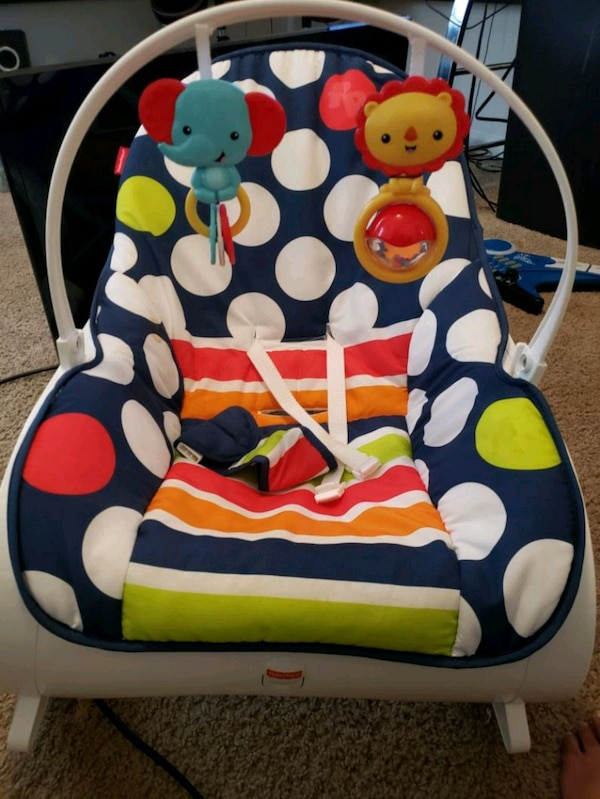 Used Baby S Blue And White Polka Dot Bouncer For Sale In