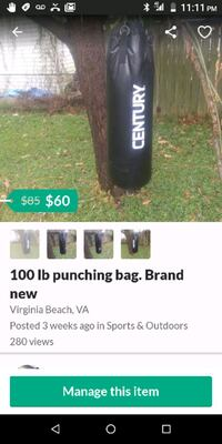 100 lb punching bag with chain  Norfolk, 23503