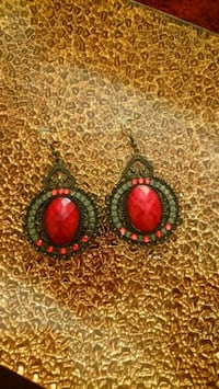 pair of silver-and-red earrings Toronto, M1K 2B8