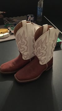 White and brown flames leather cowboy boots Jessup, 20794