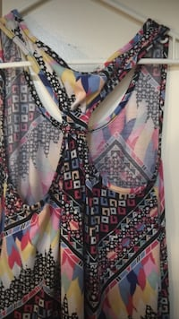 women's black, red, yellow, blue, and pink sleeveless top