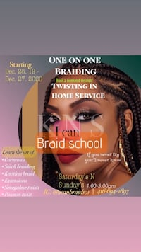 One on one in home braiding service Toronto