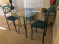 Glass high top table for two. Green, metal North Las Vegas, 89081