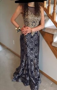 Navy Blue & Gold Prom Dress size XS-S. Ankeny