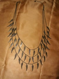Triple Strand Brass Angel Wing Necklace