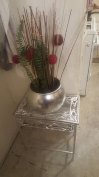 Beautiful silver vase with side table and decor