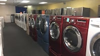 Set red and blue washer and dryer with pedestal delivery and installation available  Windsor Mill, 21244