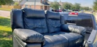 blue leather 3-seat recliner sofa Houston, 77091