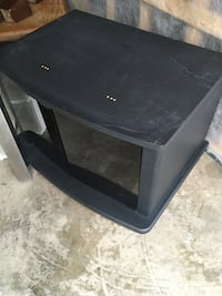 Black tv stand with glass doors-pickup only