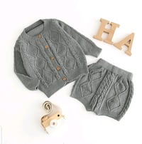 Cable-Knit Cardigan and shorts set NWT