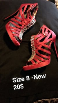 red strappy open toe stilettos Châteauguay, J6K 4T3