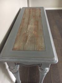 sofa table /entry table  gray carved and barn wood finish  Minooka