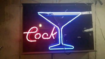 Neon cocktail cock sign