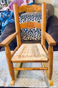 brown wooden frame white padded chair Barrie, L4N 5G8