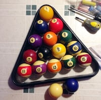 Used Billiard Ball Set + Triangle Rack   CALGARY