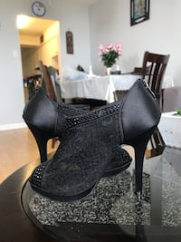 pair of black leather platform stilettos Toronto, M4A