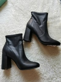 Black Faux Leather Booties Paramount, 90723