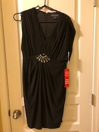 NEW black size 10 petite dress w/ silver accents