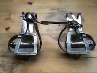 MKS GR-9 platform bike pedals with steel toe clips and leather straps Oakland, 94612