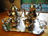 FB Rogers Silver Co Tray With Teapot Coffeepot Cream Sugar Set Richmond Hill