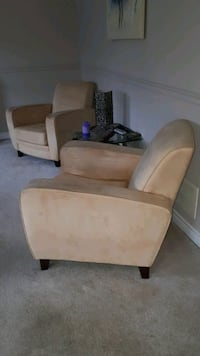 Faux suede arm chairs. St. Catharines, L2P 1X9