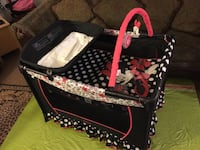 black and pink floral travel cot Bakersfield, 93306