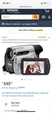 Canon ZR960 MiniDV Camcorder w/41x Advanced Zoom Los Angeles, 90026