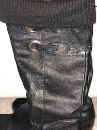 STEVE MADDEN soft leather riding boots with fold over knit cuff
