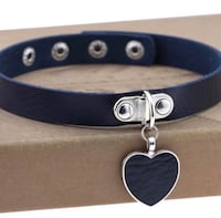Navy choker with dangling heart necklace  Austin, 78750