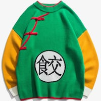 ANIME DRAGON BALL CHINESE CHARACTER CREW NECK KNIT SWEATER