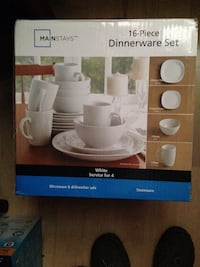 Brand New in box 16 piece white dinnerware set