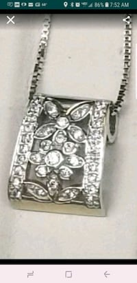 silver-colored and diamond studded pendant necklace Woodbridge, 22192