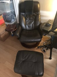 Leather recliner and foot stand matching mini desk