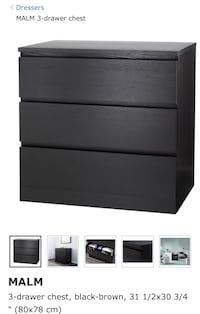 Black wooden 3-drawer chest Toronto, M9R 1S8