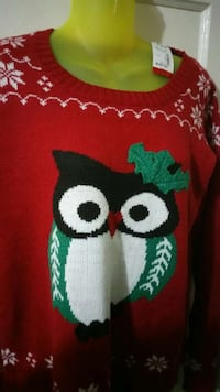 red black white and green owl print knitted sweater Burbank