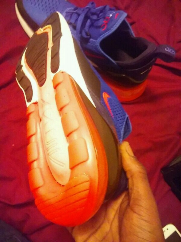 low priced f7ab4 2dc2f Blue and orange and white Nike 27C airMax