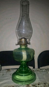 """ANTIQUE GREEN GLASS OIL LAMP   6"""" wide base 19"""" wi"""