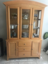 brown wooden framed glass display cabinet Calgary, T3K 5T9