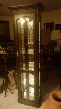 brown wooden framed glass display cabinet Miami, 33157