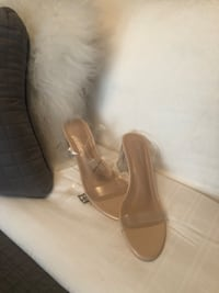 Nude and Clear Low Block Heel Vaughan, L4H