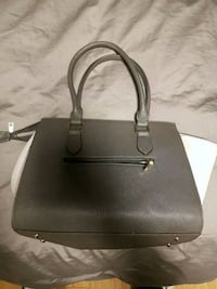 Black leather 2-way handbag ""