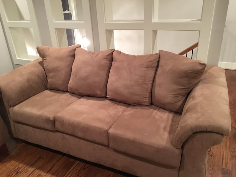 Used Brown Suede Sofa Loveseat For