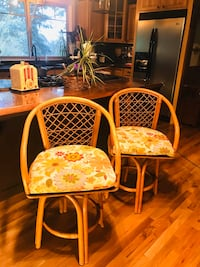 Rattan - Swivel Seat - Counter Top Bar Stools with Cushions! $225 each