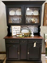 Vintage refinished cabinet...2 pc. buffet or server with hutch.